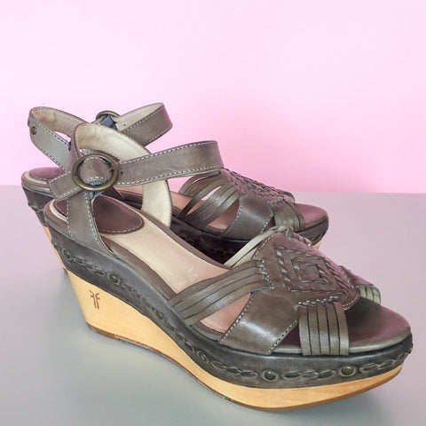 Frye Carlie Huarache Wedge Sandals - 6.5 - slowre - 1