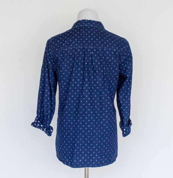Madewell Polka Dot Chambray Shirt - Medium