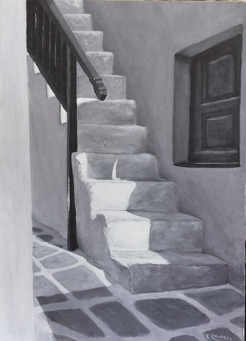 Steps and Window on Mykonos (Monochromatic)