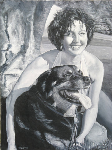 Portrait Woman and Dog Commission