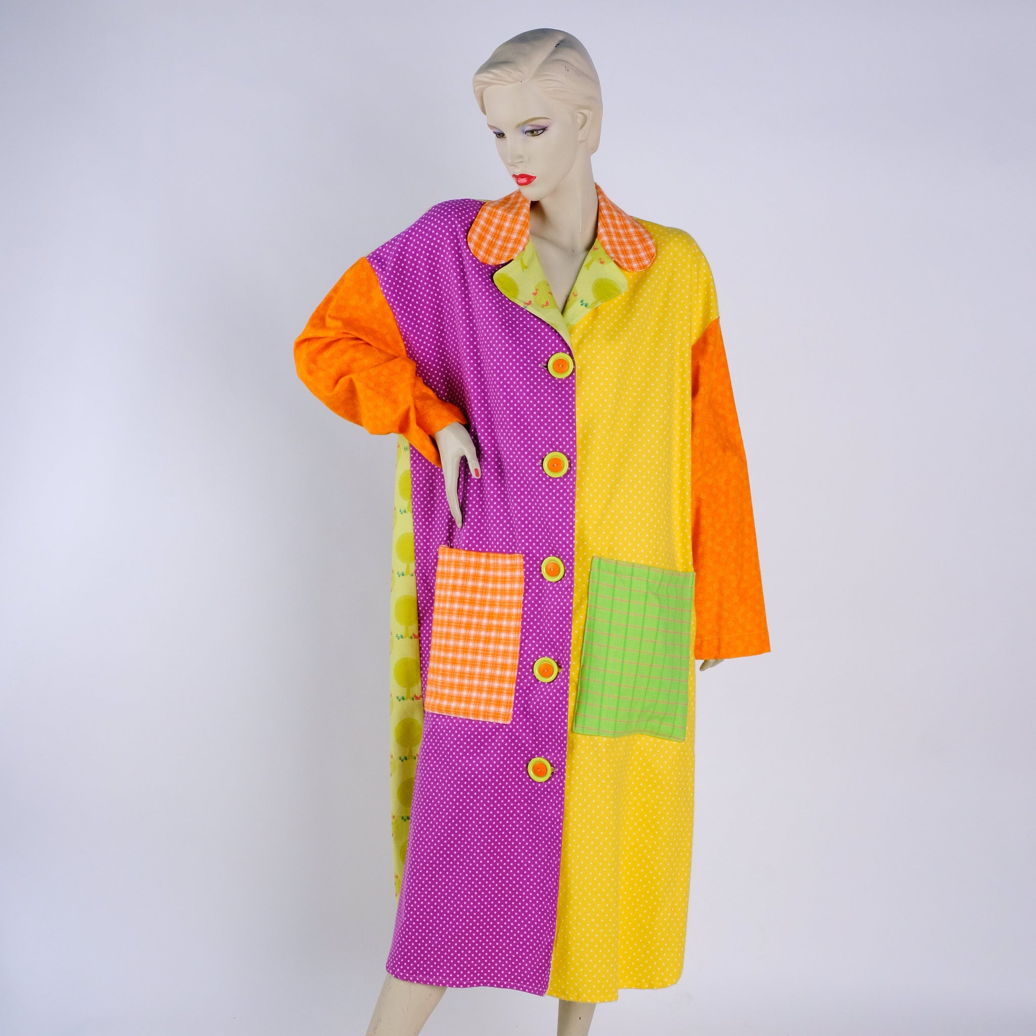 Big Button Housecoat - Large - Tessuti Zoo