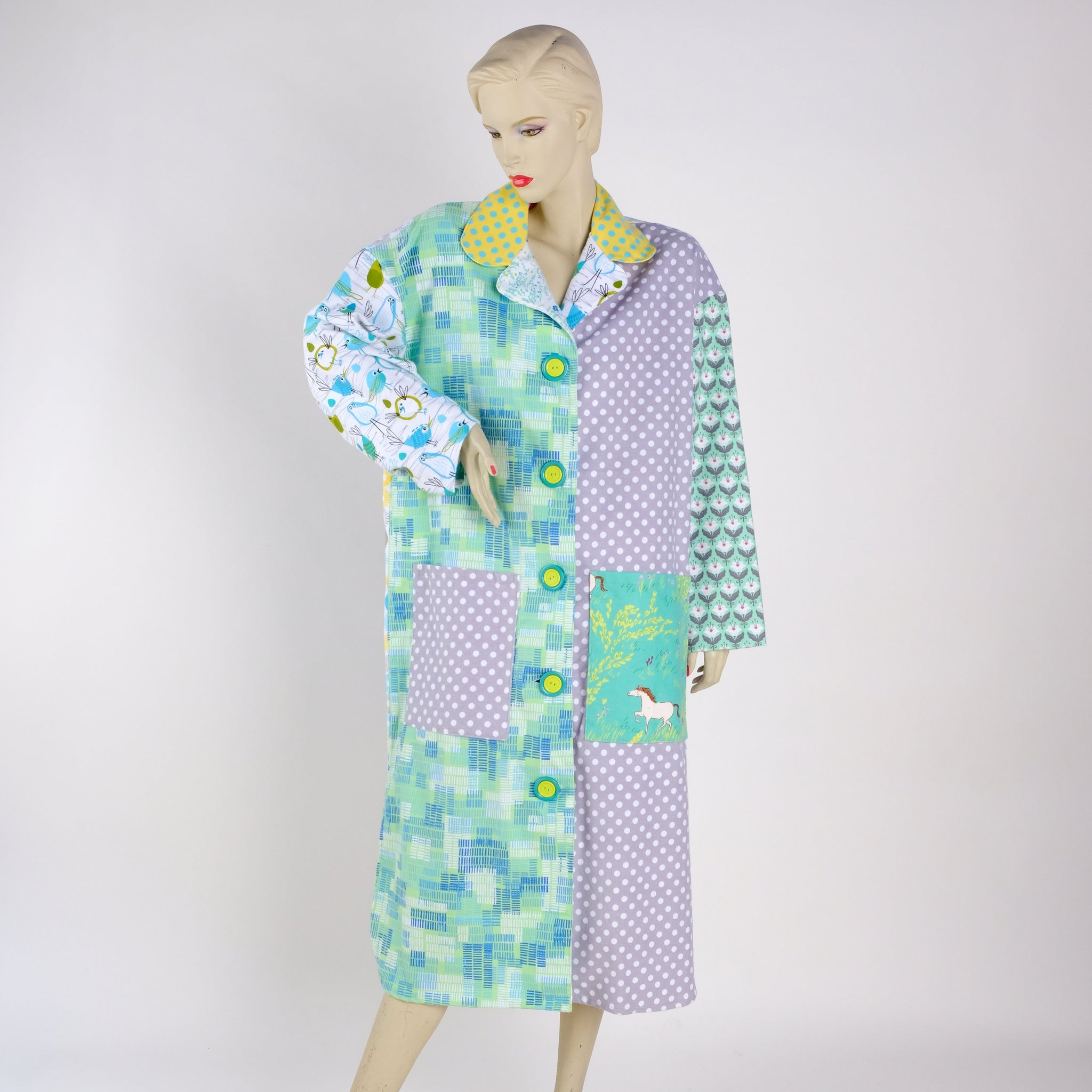 Birds and Ponies Housecoat - Medium - Tessuti Zoo