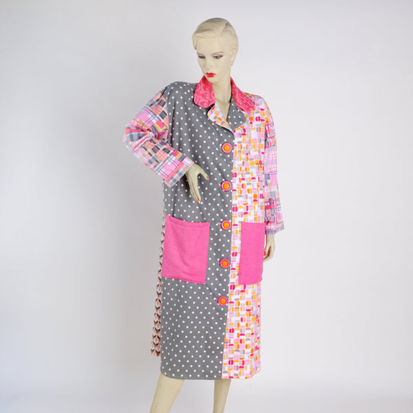Pink and Gray Housecoat - Small - Tessuti Zoo