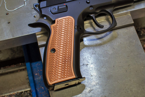 "Copper CZ-75 Grips, ""Copperhead"" checkered pattern, standard size"