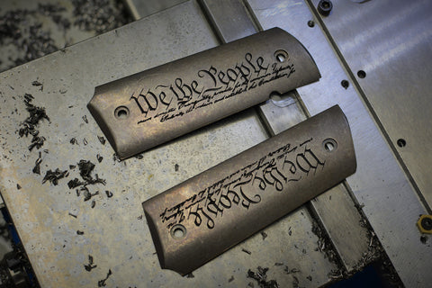 "1911 ""We The People"" Darkwash Ti grips"
