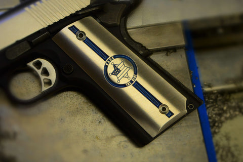 "1911 ""Back The Blue"" Ti grips"