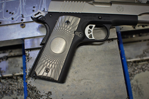"1911 ""Vortex Fluting"" Ti grips - custom image"