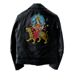 "LEATHER DOUBLE RIDERS JACKET ""DURGA"": Alternate View #1"