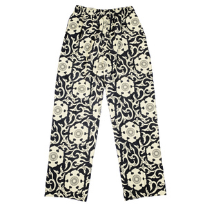 SCROW ART JINJYA TRIBAL BLACK / IVORY TROUSERS FRONT VIEW
