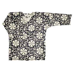 SCROW ART JINJYA TRIBAL BLACK / IVORY SHIRT FRONT VIEW