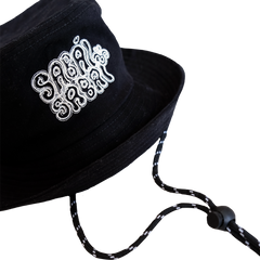 SABAI SABAI EMBROIDERED BUCKET HAT (BLACK / WHITE): Alternate View #3