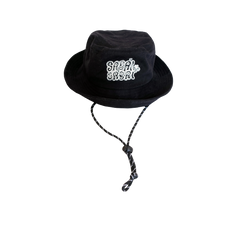 SABAI SABAI EMBROIDERED BUCKET HAT (BLACK / WHITE): Alternate View #1
