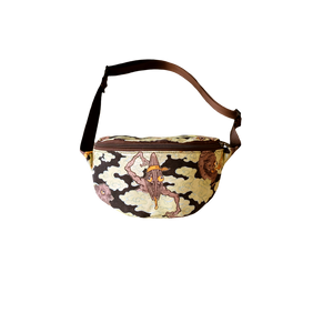 BANGXGANJI YOKAI CAMO BROWN BUM BAG FRONT VIEW