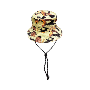 BANGXGANJI YOKAI CAMO BROWN BUCKET HAT FRONT VIEW