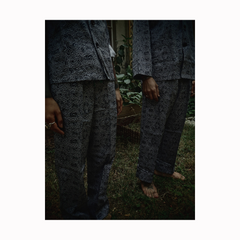 """GUY LE TATOOER X LOCO MOSQUITO"" ALLOVER BLACK WAVES MENS TROUSERS: Alternate View #3"