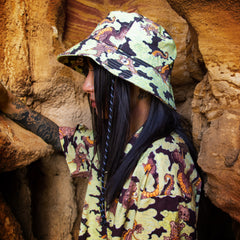 [UNISEX] BANGXGANJI X LOCO MOSQUITO YOKAI CAMO BUCKET HAT (BROWN / GREEN): Alternate View #4