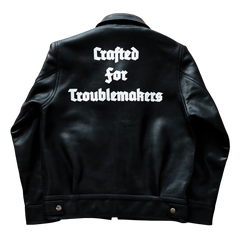 "LEATHER JACKET ""CRAFTED FOR TROUBLEMAKERS"": Alternate View #2"