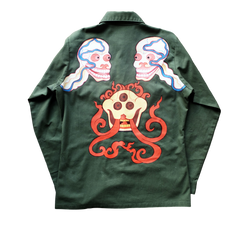 HANDPAINTED SKULL VINTAGE MILITARY SHIRT: Alternate View #1