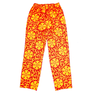 [UNISEX] SCROW ART X LOCO MOSQUITO JINJYA TRIBAL RED / YELLOW TROUSERS FRONT