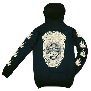 GUY LE TATOOER X LOCO MOSQUITO JAPANESE FLAME HOODIE (BLACK / IVORY) BACK