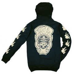 GUY LE TATOOER X LOCO MOSQUITO JAPANESE FLAME HOODIE (BLACK / IVORY): Alternate View #1