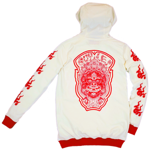 GUY LE TATOOER X LOCO MOSQUITO JAPANESE FLAME HOODIE (CREAM / RED) BACK
