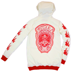 GUY LE TATOOER X LOCO MOSQUITO JAPANESE FLAME HOODIE (CREAM / RED): Alternate View #1