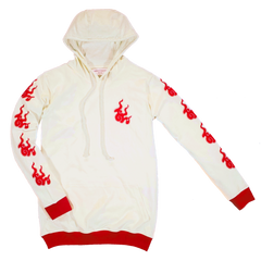 GUY LE TATOOER X LOCO MOSQUITO JAPANESE FLAME HOODIE (CREAM / RED): Alternate View #2