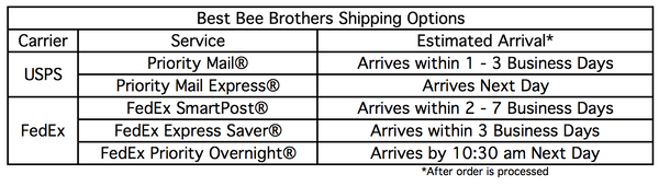 Best Bee Brothers Shipping Options