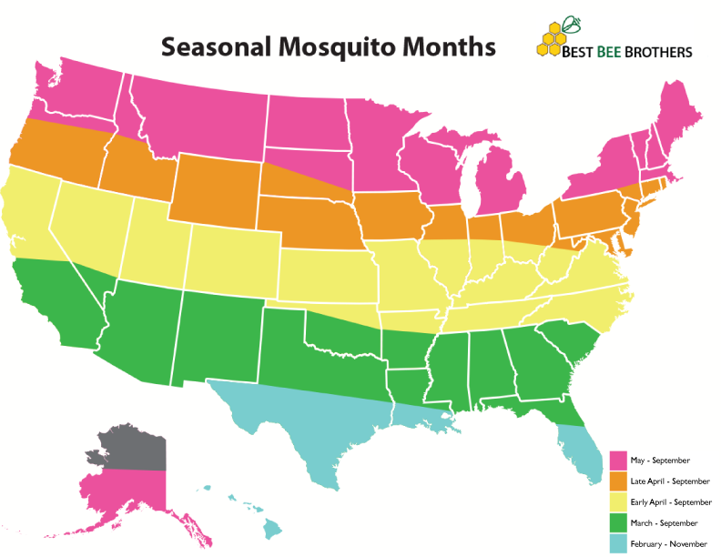 Mosquito season for the East Coast, South, Midwest and West Coast.