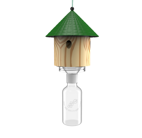 Carpenter Bee Hut Trap with Bottle Attachment - Front View