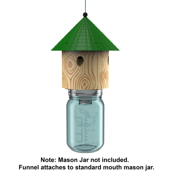 Carpenter Bee Hut Trap with Mason Jar - Side View
