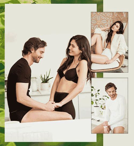 Man and Woman Wearing Cotonella Italian Cotton Men's Underwear and Women's Panties