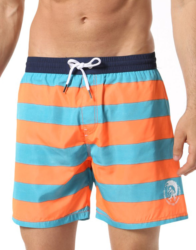 Turquoise/Orange Stripe Front Diesel Wave Swim Boxer