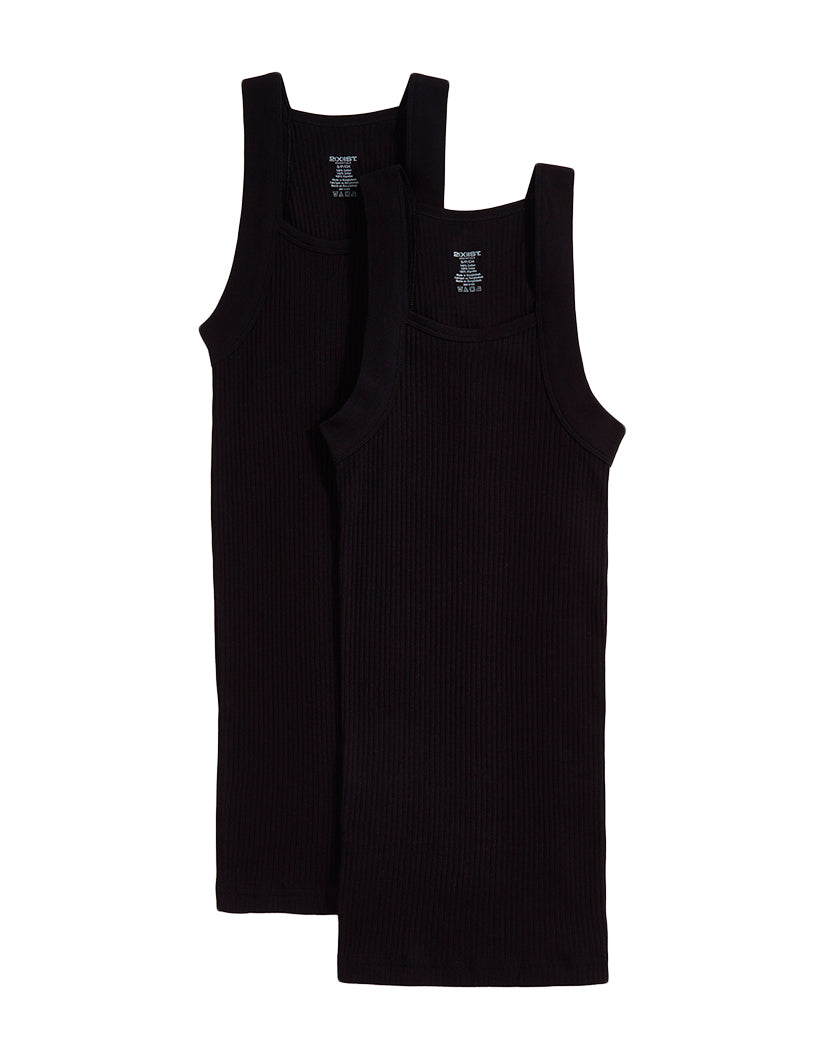 Black Front 2xist Men's 2-Pack Essential Range Square Cut Tank Tops 020227