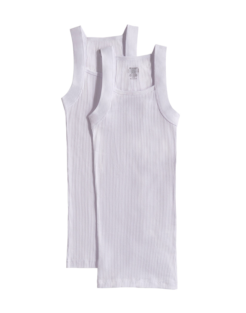 White Front 2xist Men's 2-Pack Essential Range Square Cut Tank Tops 020227