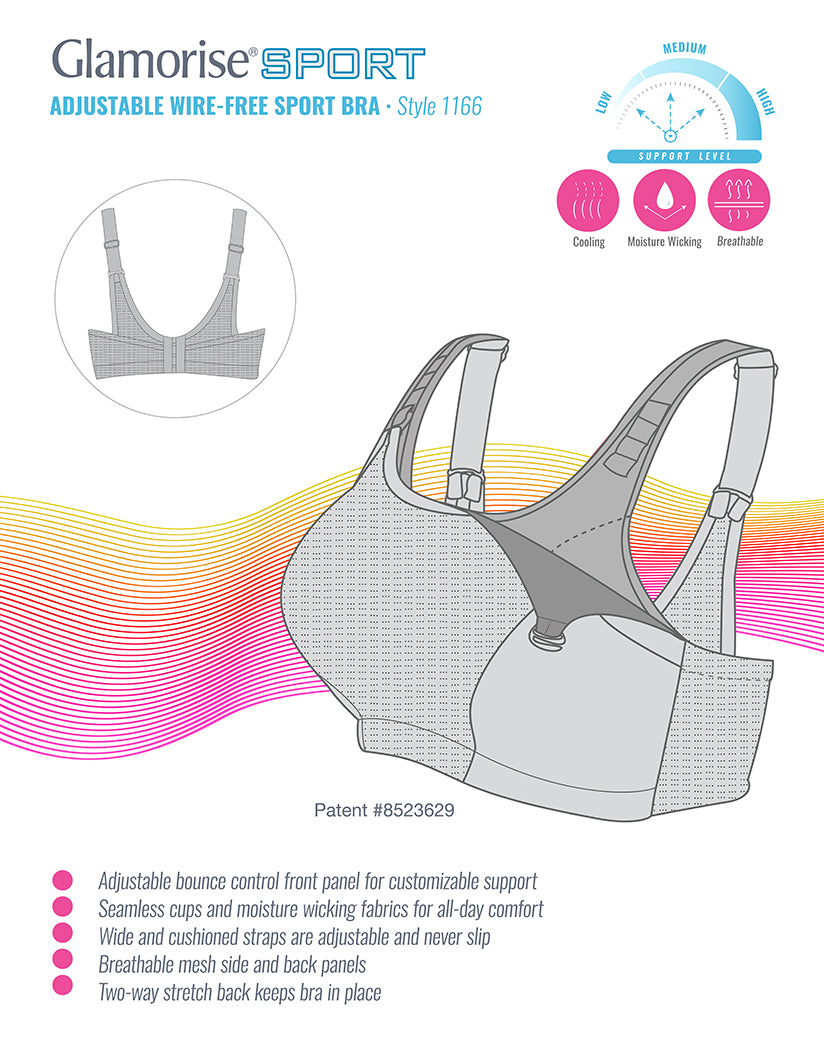 Glamorise Sport Double Layer Custom Control Bra White - 1166