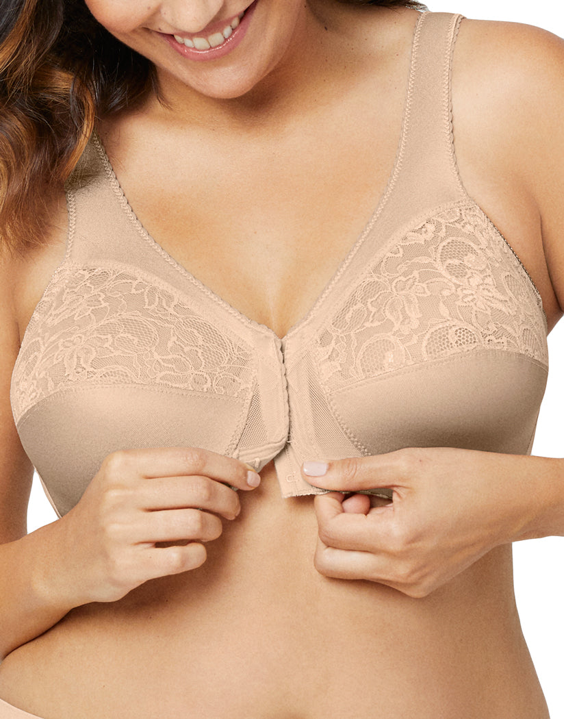 Blush Nude Front Glamorise Women's Magic Lift Front Close Full Figure Support Bra Blush - 1200