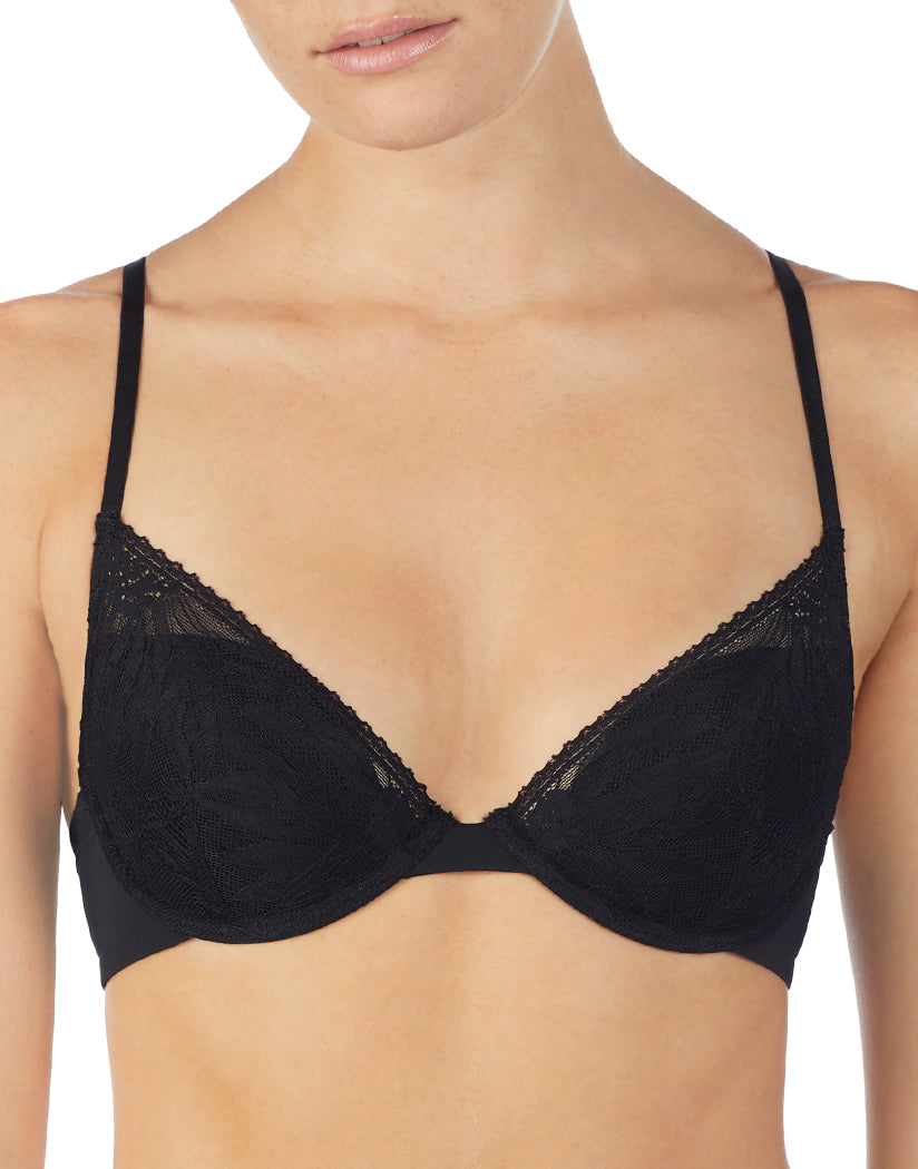 Black Front OnGossamer Sleek & Lace Low Cut Demi Bra G3193