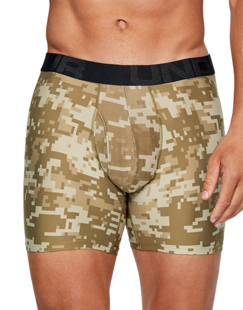 Canyon Green/Black Front Under Armour Tech 6'' Boxerjock Printed 2 Pack 1327416
