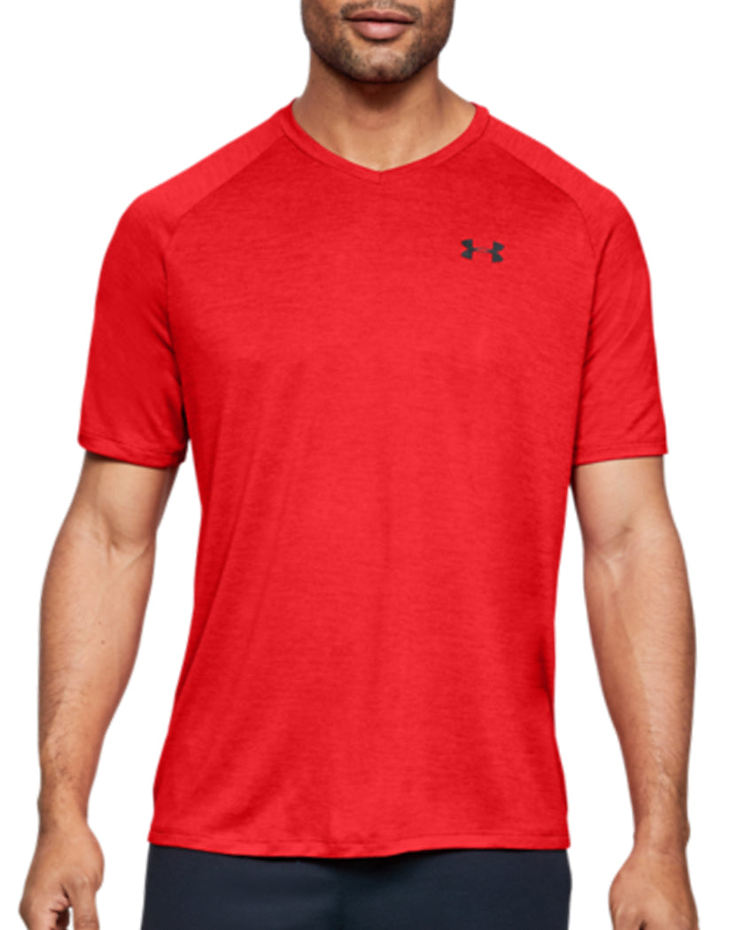 Red/Black Front Under Armour Tech 2.0 V-Neck T-Shirt 1328190