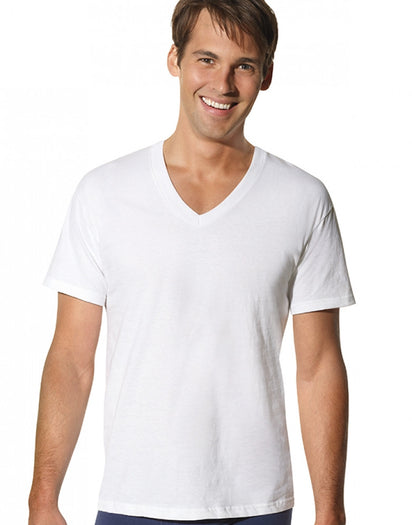 White Front Hanes 3-Pack Big V-Neck T-Shirt