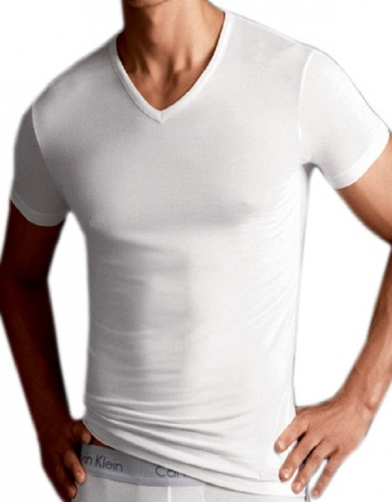 White Front Calvin Klein Body Modal V-Neck T-Shirt