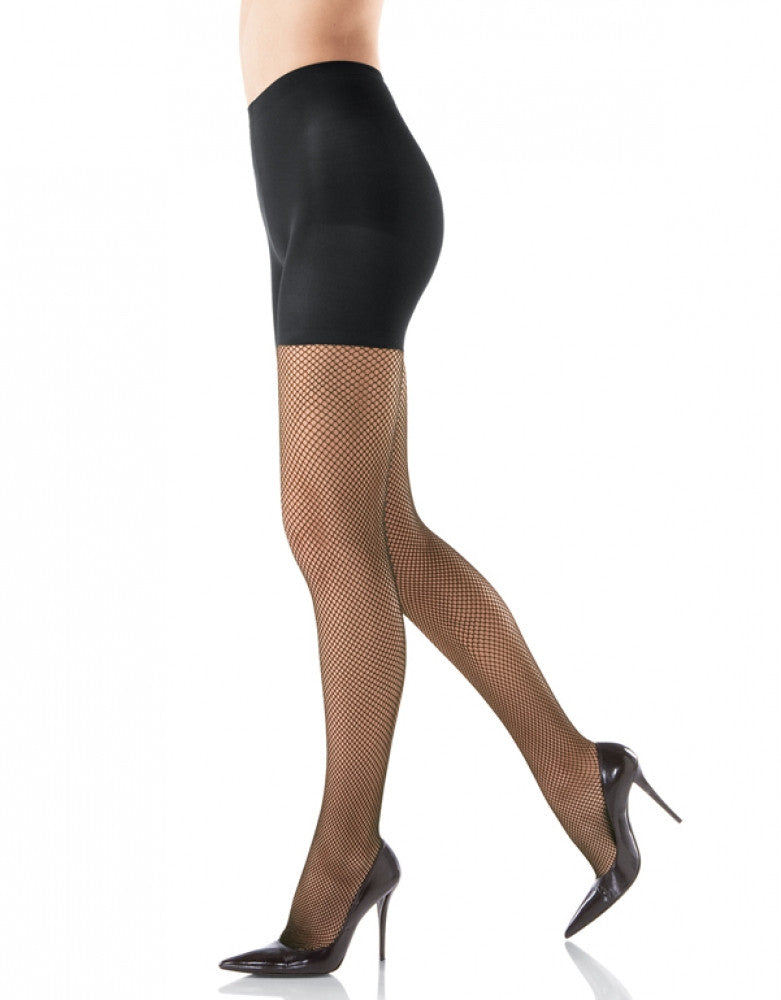 Black Front Spanx Patterned Control Top Fishnet Tight-End Pantyhose