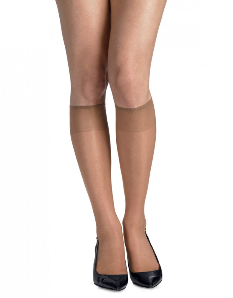 Natural Front Hanes Hosiery Silk Reflections Silky Sheer Reinforce Toe Knee High