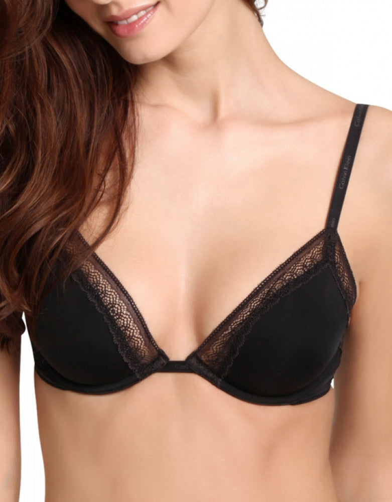 Black Front Calvin Klein Perfectly Fit Sexy Signature Unlined Underwire Bra