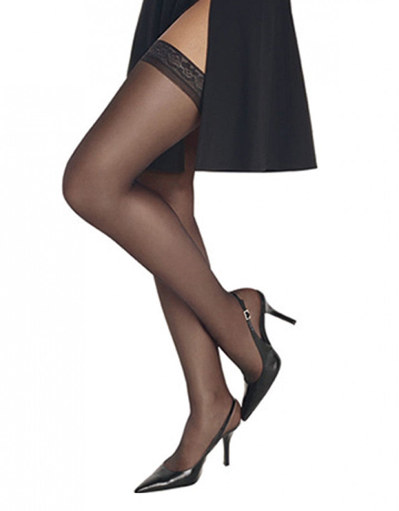 Barely Black Front Hanes Hosiery Silk Reflections Thigh Highs