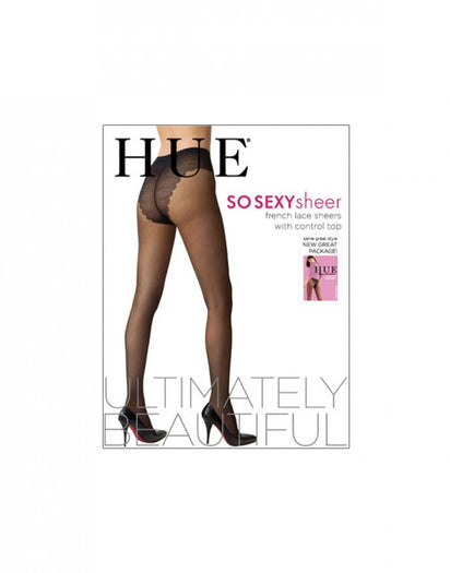 Black Front HUE French Lace Control Top Pantyhose