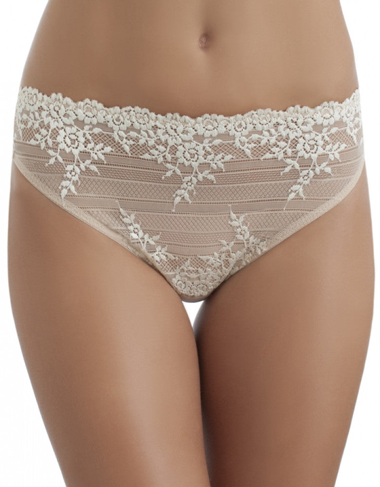 Sand/ Ivory Front Wacoal Embrace Lace Hi Cut Brief 841191