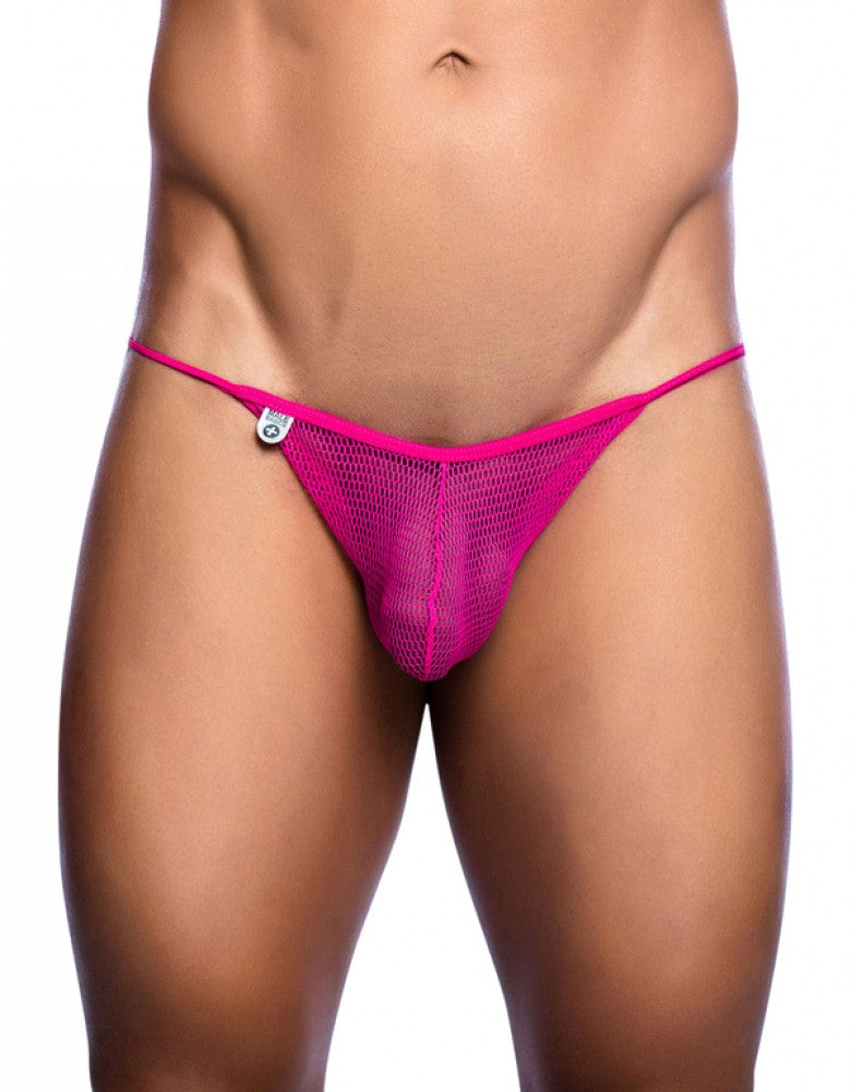 Hot Pink Side Malebasics Mesh String Bikini